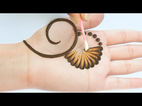 Beautiful mehndi design with cotton bud - simple mehendi design for front hands