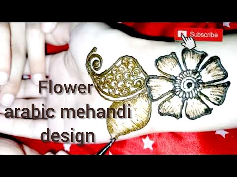 Arabic mehandi design with different flowers and leafs || easy mehandi design tutorial for beginners
